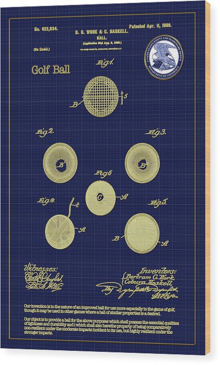 Golf Wood Print featuring the digital art Golf Ball Patent Drawing 1899 by Carlos Diaz