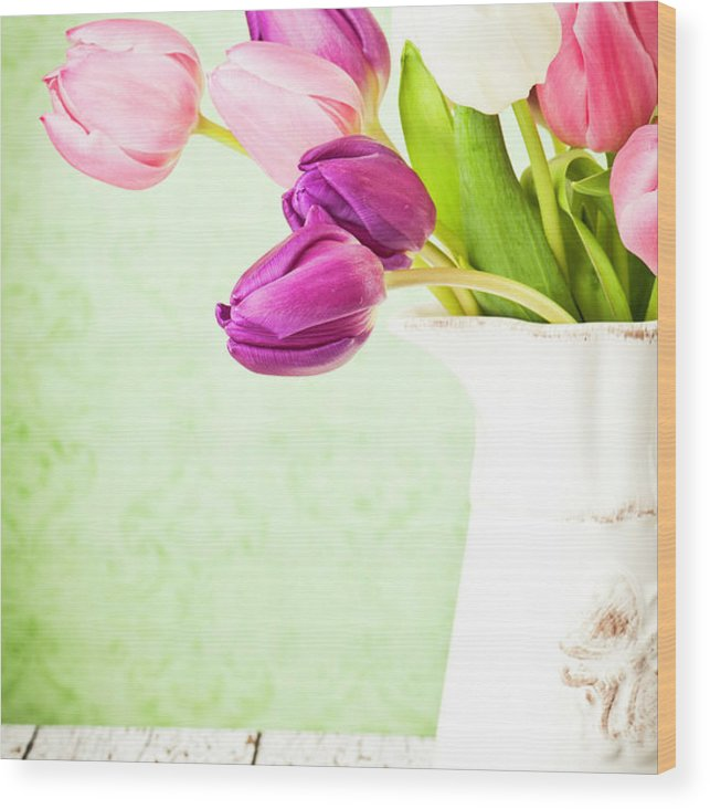 Mother's Day Wood Print featuring the photograph Easter Tulips And Copy Space by Catlane