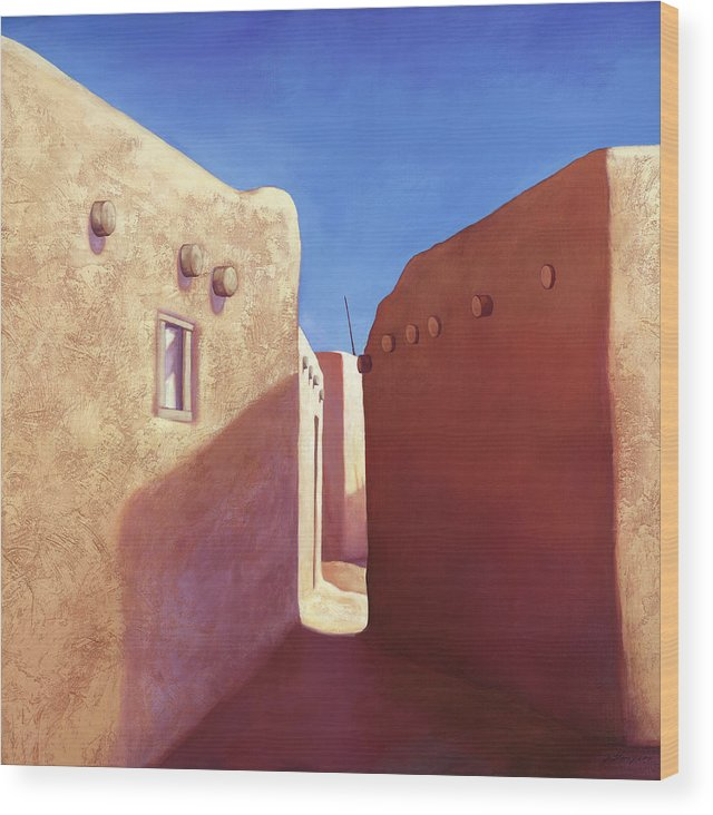Pueblo Wood Print featuring the painting Taos Walls by Jo Thompson