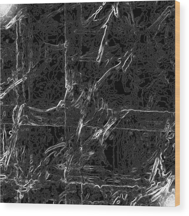 Abstract Wood Print featuring the digital art Creepy by Carl Perry