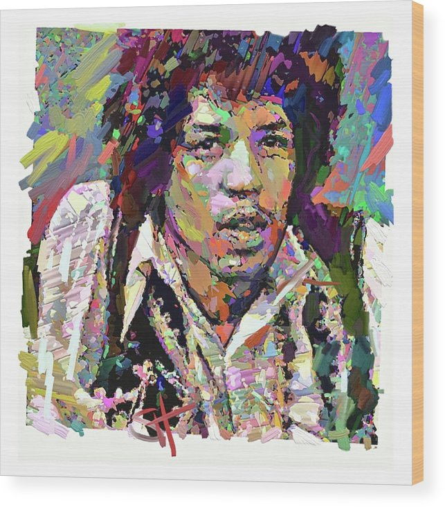 Jimi Hendrix Music Portrait Musician Rock Wood Print featuring the digital art Jimi by Scott Waters