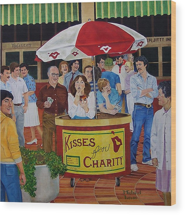 Illustration Wood Print featuring the painting Kisses For Charity by Michael Lewis