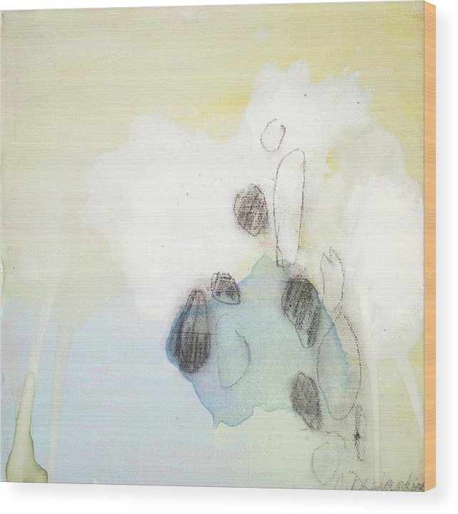 Abstract Wood Print featuring the painting Little Secret 10 by Claire Desjardins