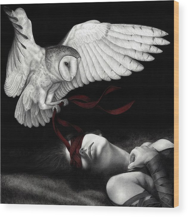 Woman Wood Print featuring the painting On Silent Wings by Pat Erickson