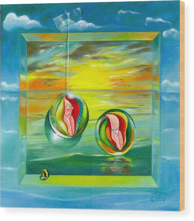 Surrealism Wood Print featuring the painting Strollin Miami Beach at Sunset by Roger Calle