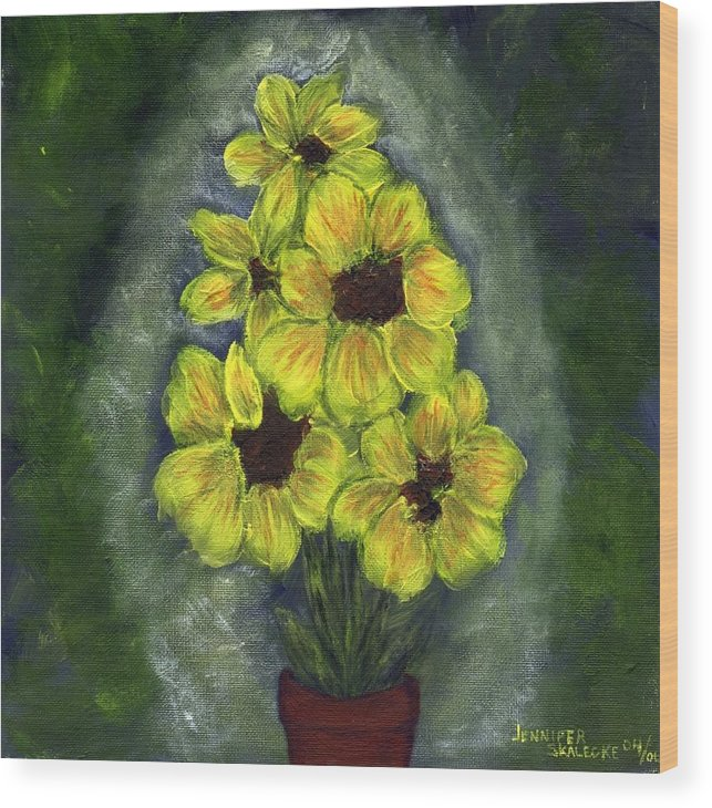 Flowers Wood Print featuring the painting Sunflower Season - www.jennifer-d-art.com by Jennifer Skalecke