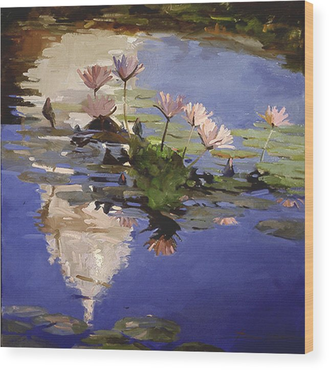 Water Lilies Wood Print featuring the painting The Dome - Water Lilies by Betty Jean Billups