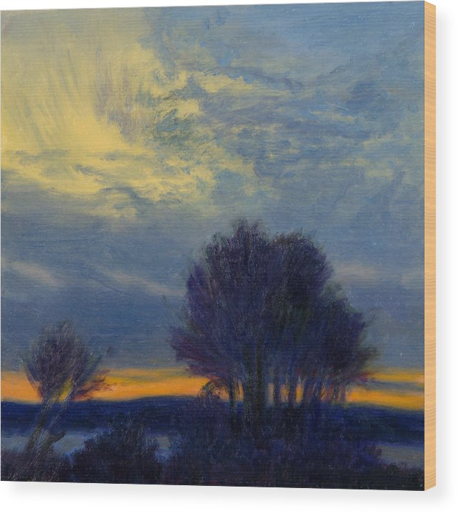Sundown Wood Print featuring the painting Windswept Sky by Phyllis Tarlow