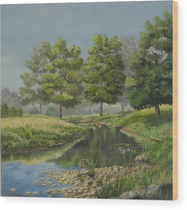 The Ky. Landscape Wood Print featuring the painting The First Swim by Wanda Dansereau