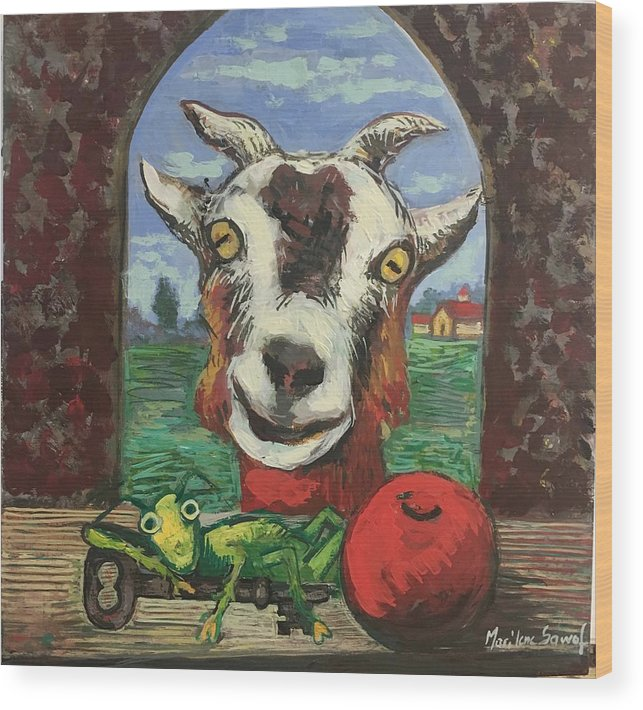 Goat Wood Print featuring the painting Afternoon with goat by Marilene Sawaf