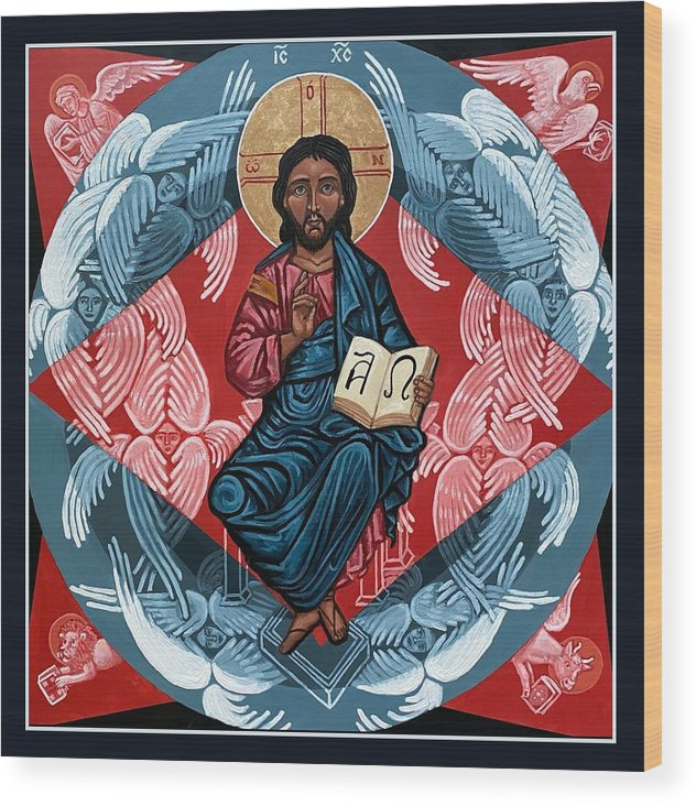 Wood Print featuring the painting Christ Enthroned by Kelly Latimore
