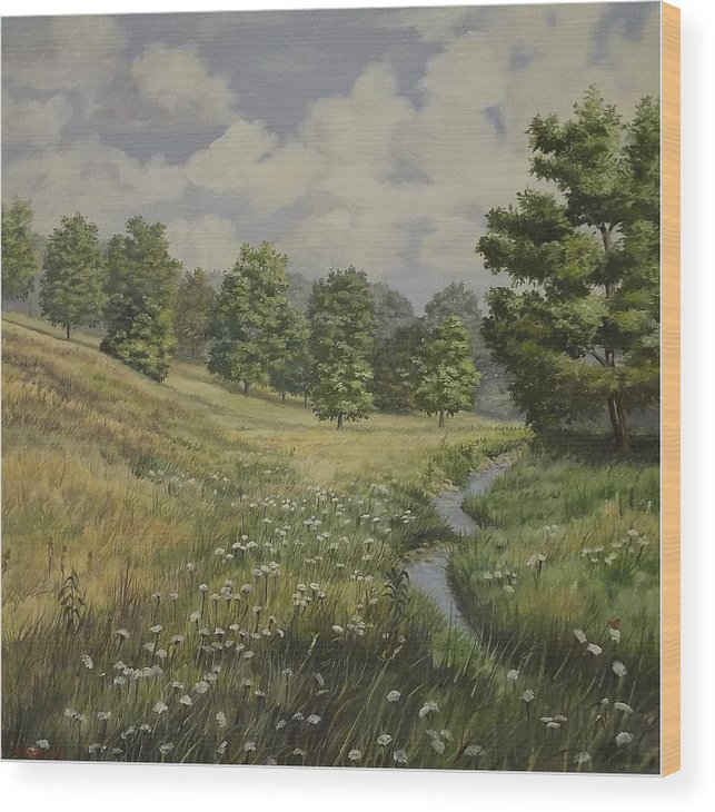 Cloudy Skies Wood Print featuring the painting Field And Stream by Wanda Dansereau