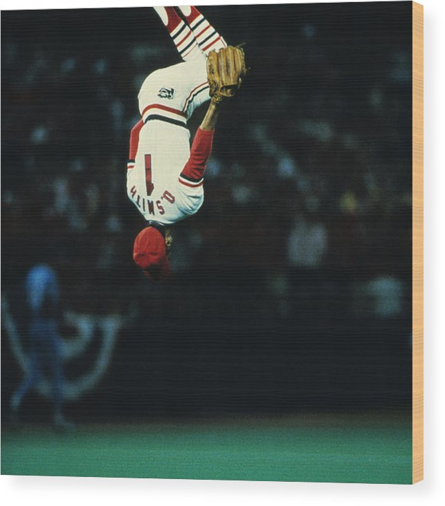 St. Louis Cardinals Wood Print featuring the photograph Ozzie Smith by Ronald C. Modra/sports Imagery