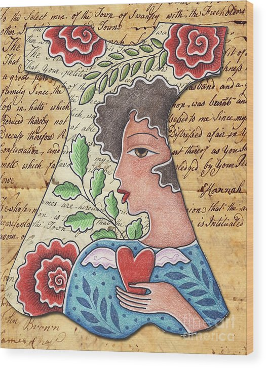 Red Flowers Wood Print featuring the digital art I'm wearing my heart by Elaine Jackson