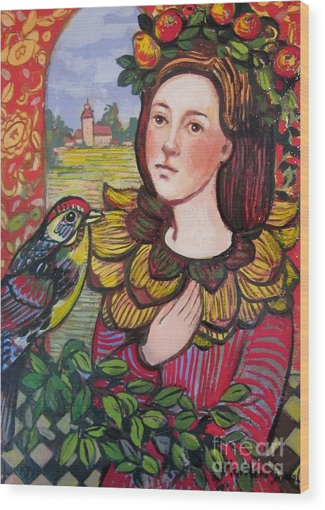 Persian Wood Print featuring the painting Conversation With Bird by Marilene Sawaf