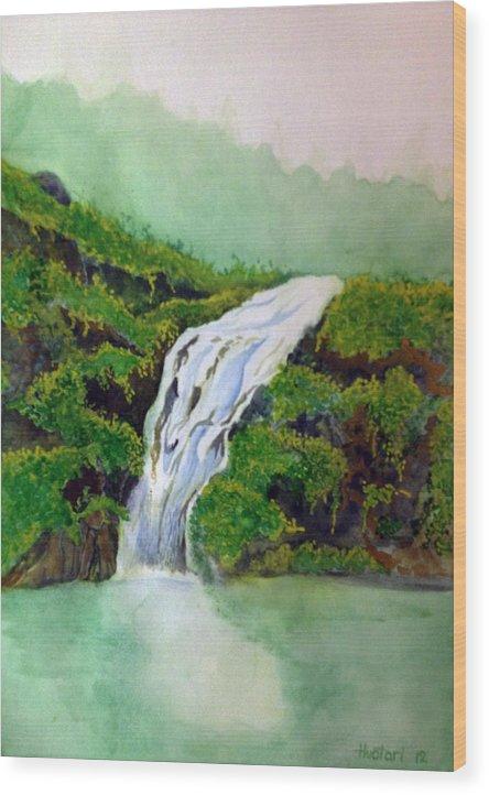 Rick Huotari Wood Print featuring the painting Hawaiian Waterfall by Rick Huotari