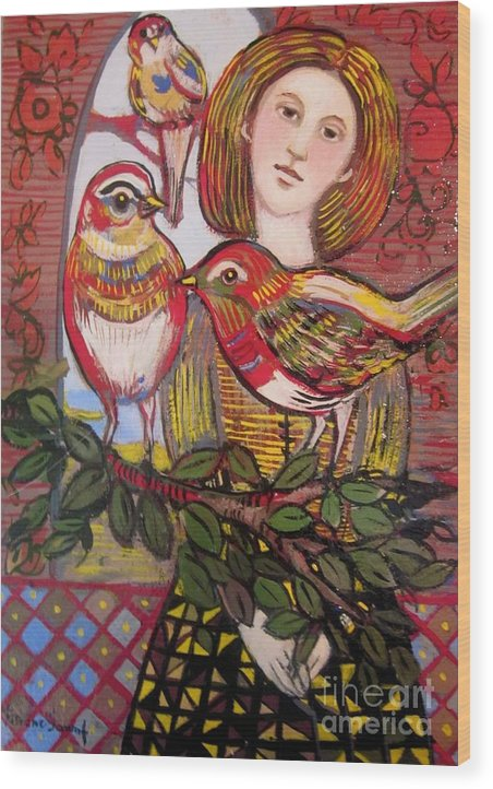 Persian Wood Print featuring the painting Woman And Birds by Marilene Sawaf