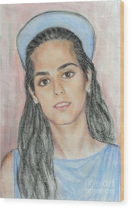 Portrait Wood Print featuring the painting Girl With A Blue Cap by Ziba Bastani