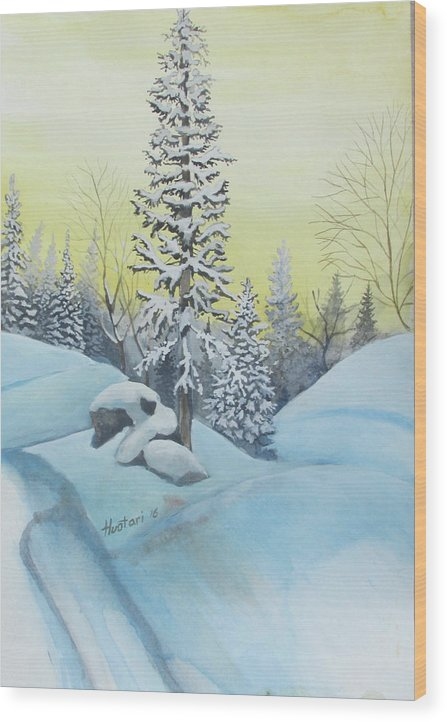 Winter Wood Print featuring the painting February Morning by Rick Huotari
