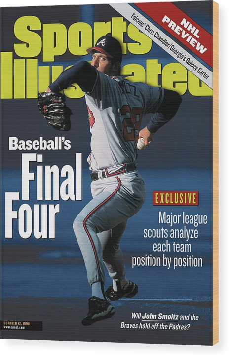 Candlestick Park Wood Print featuring the photograph Baseballs Final Four Will John Smoltz And The Braves Hold Sports Illustrated Cover by Sports Illustrated