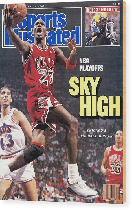 Playoffs Wood Print featuring the photograph Chicago Bulls Michael Jordan, 1988 Nba Eastern Conference Sports Illustrated Cover by Sports Illustrated