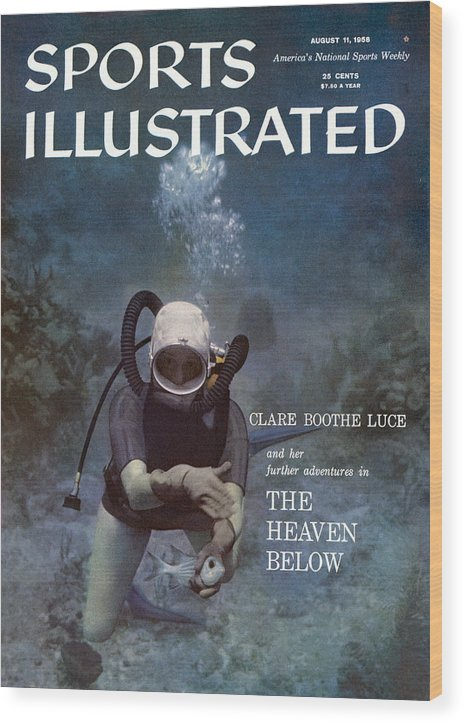 Magazine Cover Wood Print featuring the photograph Clare Boothe Luce, Scuba Diving Sports Illustrated Cover by Sports Illustrated