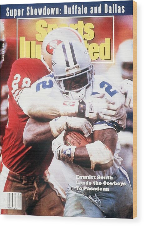 Playoffs Wood Print featuring the photograph Dallas Cowboys Emmitt Smith, 1993 Nfc Championship Sports Illustrated Cover by Sports Illustrated