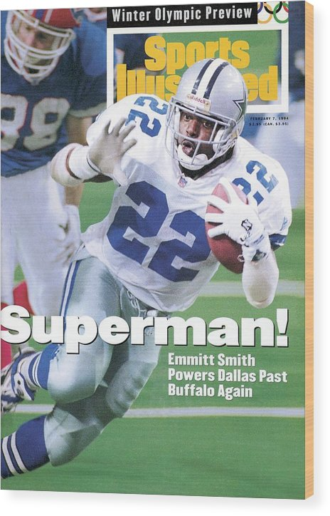 Atlanta Wood Print featuring the photograph Dallas Cowboys Emmitt Smith, Super Bowl Xxviii Sports Illustrated Cover by Sports Illustrated