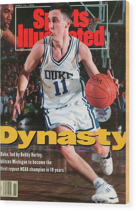 Sports Illustrated Wood Print featuring the photograph Duke University Bobby Hurley, 1992 Ncaa National Sports Illustrated Cover by Sports Illustrated
