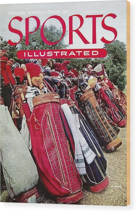 Magazine Cover Wood Print featuring the photograph Golf Bags, 1954 Masters Tournament Sports Illustrated Cover by Sports Illustrated