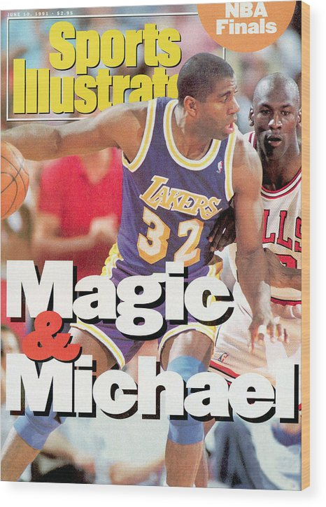 Playoffs Wood Print featuring the photograph Los Angeles Lakers Magic Johnson, 1991 Nba Finals Sports Illustrated Cover by Sports Illustrated