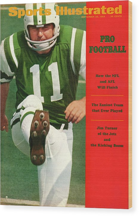 Magazine Cover Wood Print featuring the photograph New York Jets Jim Turner Sports Illustrated Cover by Sports Illustrated