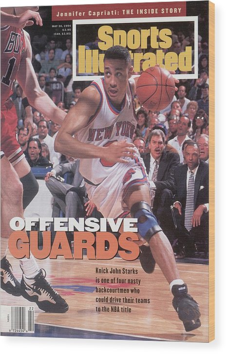 Chicago Bulls Wood Print featuring the photograph New York Knicks John Starks, 1994 Nba Eastern Conference Sports Illustrated Cover by Sports Illustrated