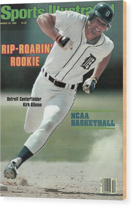 Magazine Cover Wood Print featuring the photograph Rip-roarin Rookie Detroit Centerfielder Kirk Gibson Sports Illustrated Cover by Sports Illustrated