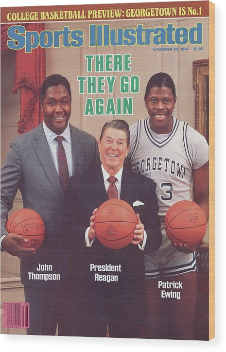 1980-1989 Wood Print featuring the photograph Ronald Reagan With Georgetown University Coach John Sports Illustrated Cover by Sports Illustrated