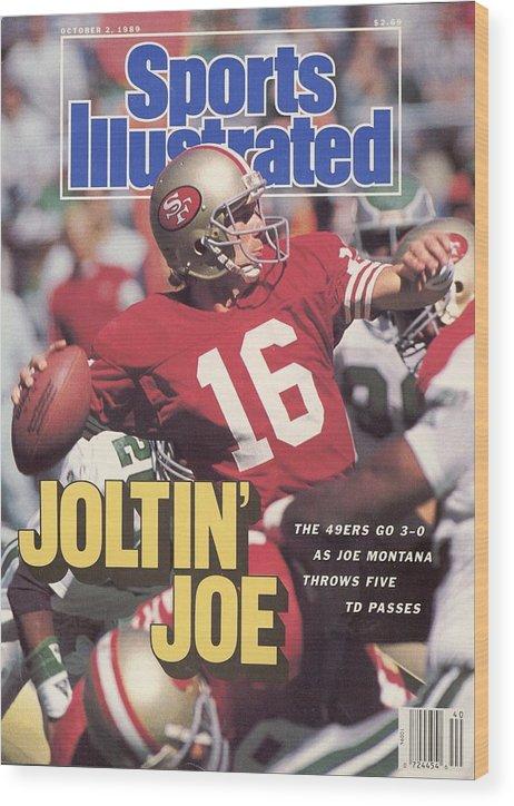 Magazine Cover Wood Print featuring the photograph San Francisco 49ers Qb Joe Montana... Sports Illustrated Cover by Sports Illustrated