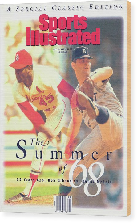 St. Louis Cardinals Wood Print featuring the photograph St. Louis Cardinals Bob Gibson And Detroit Tigers Denny Sports Illustrated Cover by Sports Illustrated
