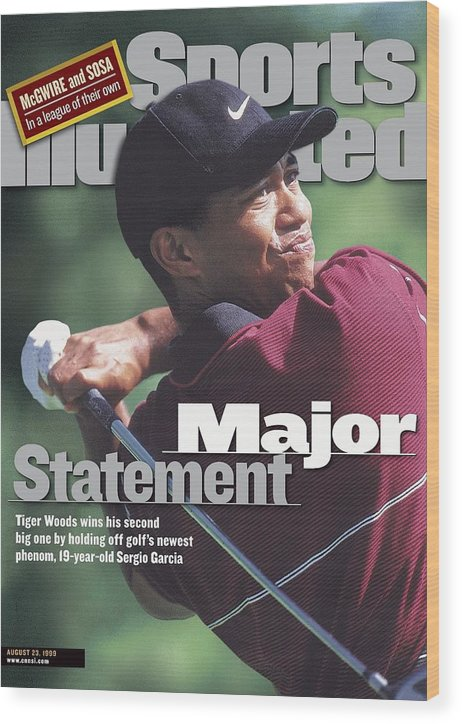 Magazine Cover Wood Print featuring the photograph Tiger Woods, 1999 Pga Championship Sports Illustrated Cover by Sports Illustrated