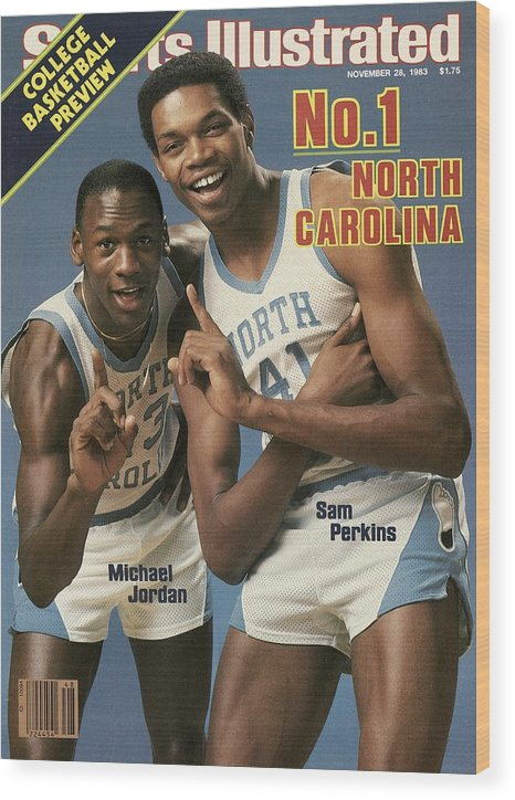 1980-1989 Wood Print featuring the photograph Unc Michael Jordan And Sam Perkins Sports Illustrated Cover by Sports Illustrated