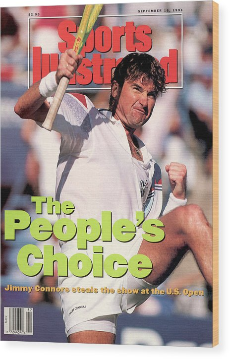 Tennis Wood Print featuring the photograph Usa Jimmy Connors, 1991 Us Open Sports Illustrated Cover by Sports Illustrated