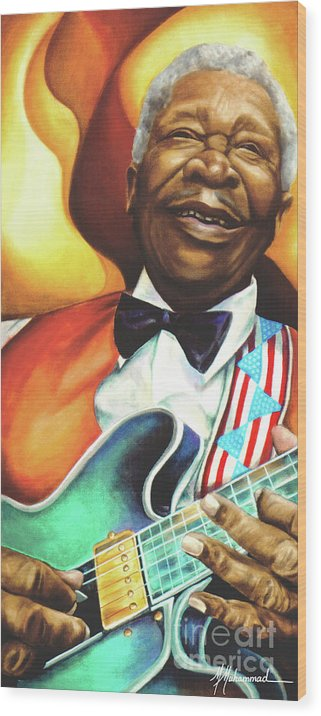 Musical Wood Print featuring the painting B. B. King by Marcella Muhammad