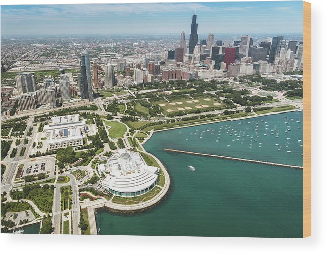 Downtown District Wood Print featuring the photograph Aerial View Of The Downtown In Chicago by Franckreporter