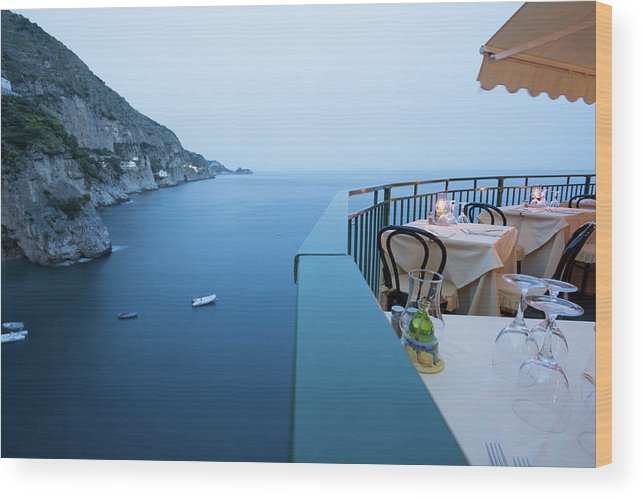Tyrrhenian Sea Wood Print featuring the photograph Amalfi Coast In Campania, Italy by Davidcallan