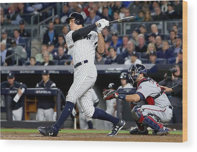 Playoffs Wood Print featuring the photograph American League Wild Card Game - Minnesota Twins v New York Yankees by Al Bello