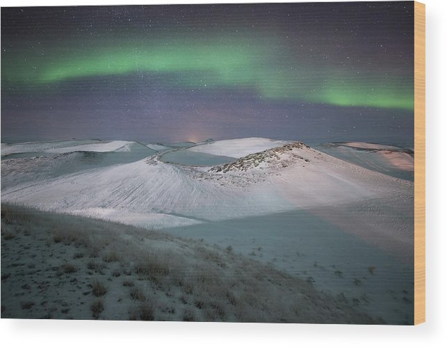 Scenics Wood Print featuring the photograph Aurora, Myvatn, Iceland by David Clapp