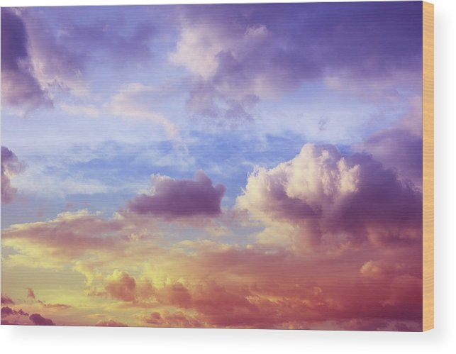 Scenics Wood Print featuring the photograph Beautiful Sunset Cloudscape by Blackred