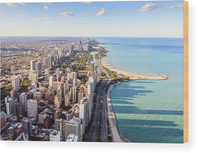Water's Edge Wood Print featuring the photograph Chicago Lakefront Skyline by Fraser Hall