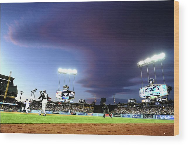 Ball Wood Print featuring the photograph Colorado Rockies V Los Angeles Dodgers by Harry How