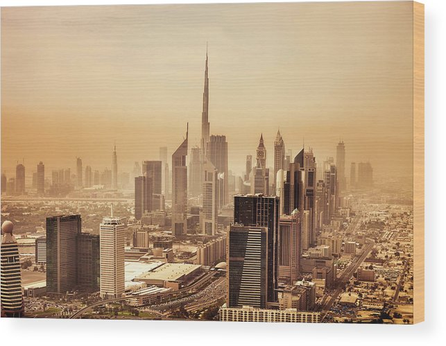 Arabia Wood Print featuring the photograph Dubai Downtown Skyscrapers And Office by Leopatrizi