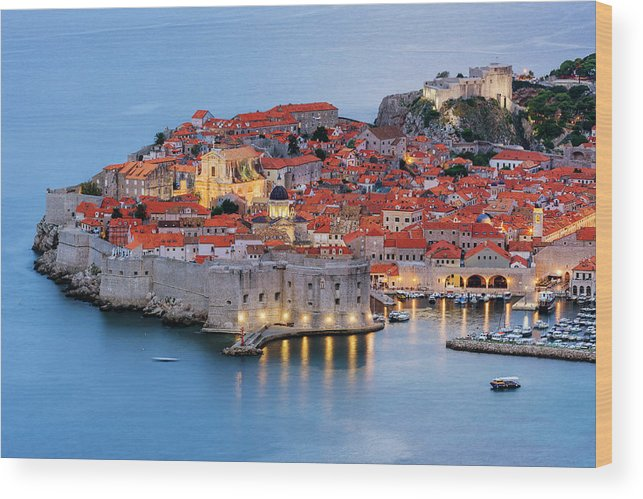 Scenics Wood Print featuring the photograph Dubrovnik City Skyline At Dawn by Pixelchrome Inc